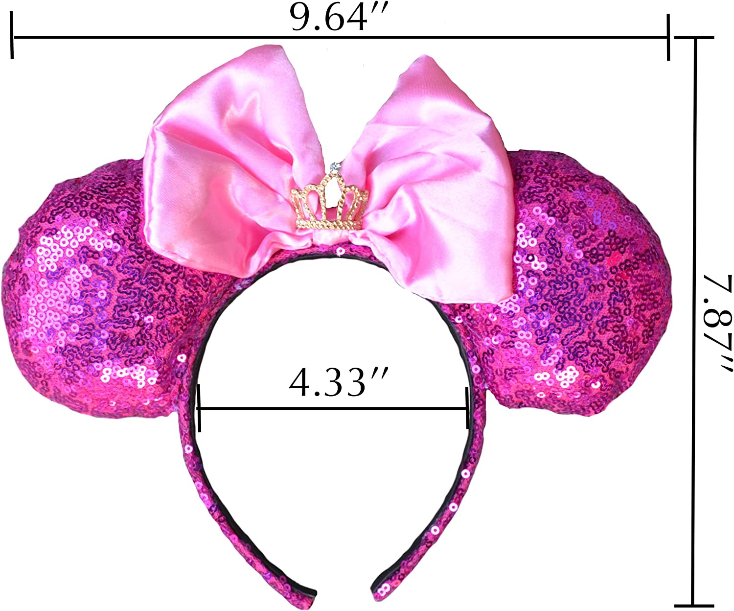 One Size Fits All Charmed Creations Princess Inspired Bow Headband Princess Party Mickey//Minnie Mouse Ears