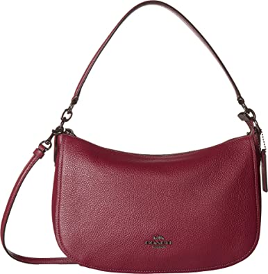 2deb2f34c96cb COACH Women's Pebble Chelsea Crossbody Gunmetal/Dark Berry One Size ...