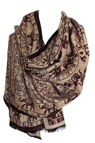 Elefante indio impresión cálida lana Cachemira mezcla abrigo chal bufanda estola hiyab de la cabeza (Beige marrón): Amazon.es: Ropa y accesorios