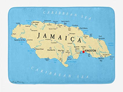 Ambesonne Jamaican Bath Mat, Map of Jamaica Kingston Caribbean Sea  Important Locations in Country, Plush Bathroom Decor Mat with Non Slip  Backing, ...
