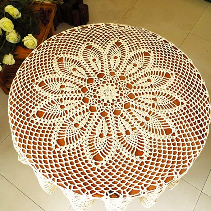 tidetex Pure hecho a mano Crochet Hollow fuera Encaje Mantel redondo de algodón mantel mesa Cubrir Doilies, aspecto vintage, gancho para toalla: Amazon.es: ...