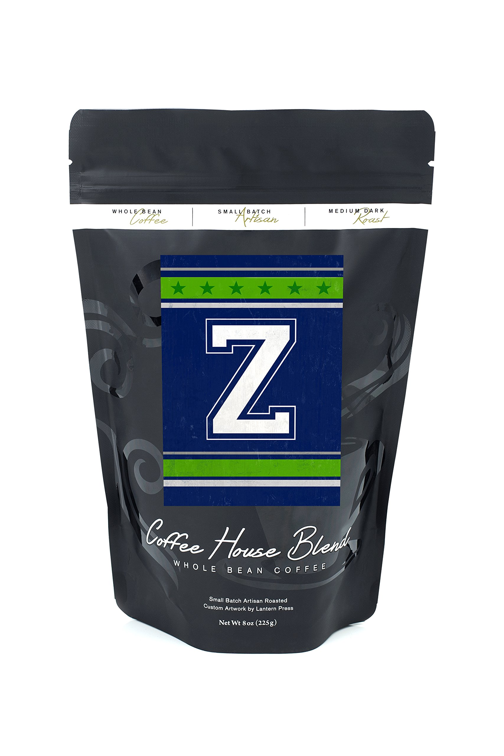 Monogram - Game Day - Blue and Green - Z (8oz Whole Bean Small Batch Artisan Coffee - Bold & Strong Medium Dark Roast w/Artwork)