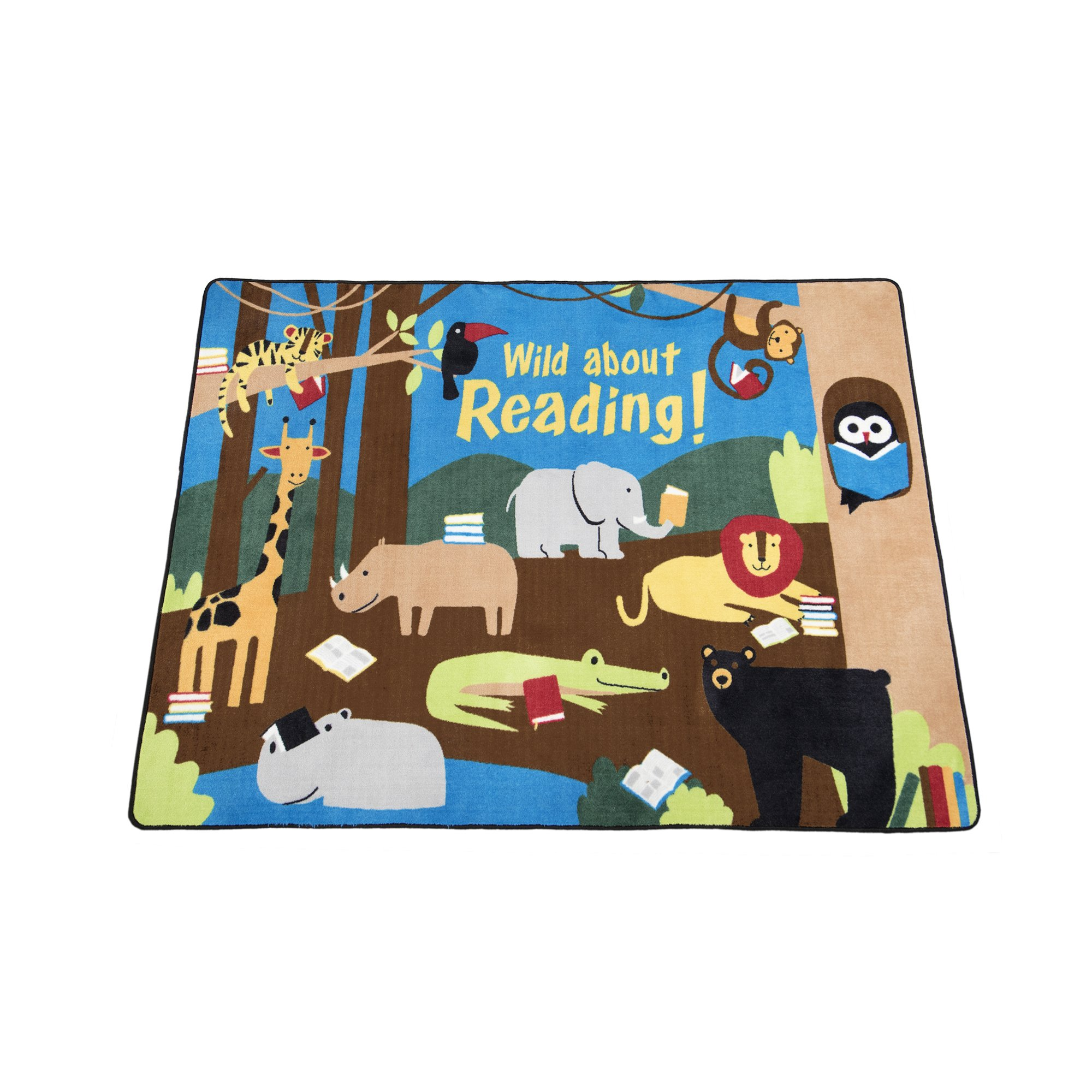 Guidecraft Wild About Reading Carpet 5'4'' x 7'8'' - Children's Classroom Educational Rug, Kids Animal Jungle Themed Soft Rug for Playroom