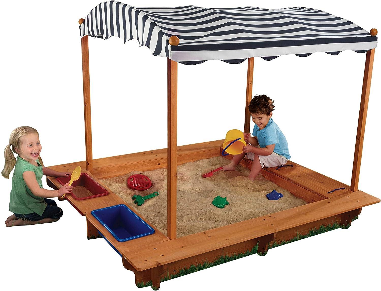 KidKraft 165 Arenero de madera para niños con toldo, para jardín y ...