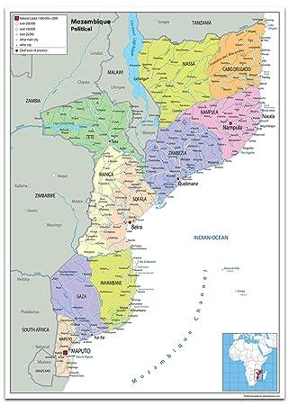Mosambik Karte.Mosambik Politische Karte Papier Laminiert Ga A2 Size 42 X 59 4