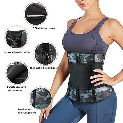 Ursexyly Women Waist Trainer Belt Tummy Control Waist Trimmer Slim Belly Sauna Sweat Waist Cincher Camo Workout Girdle