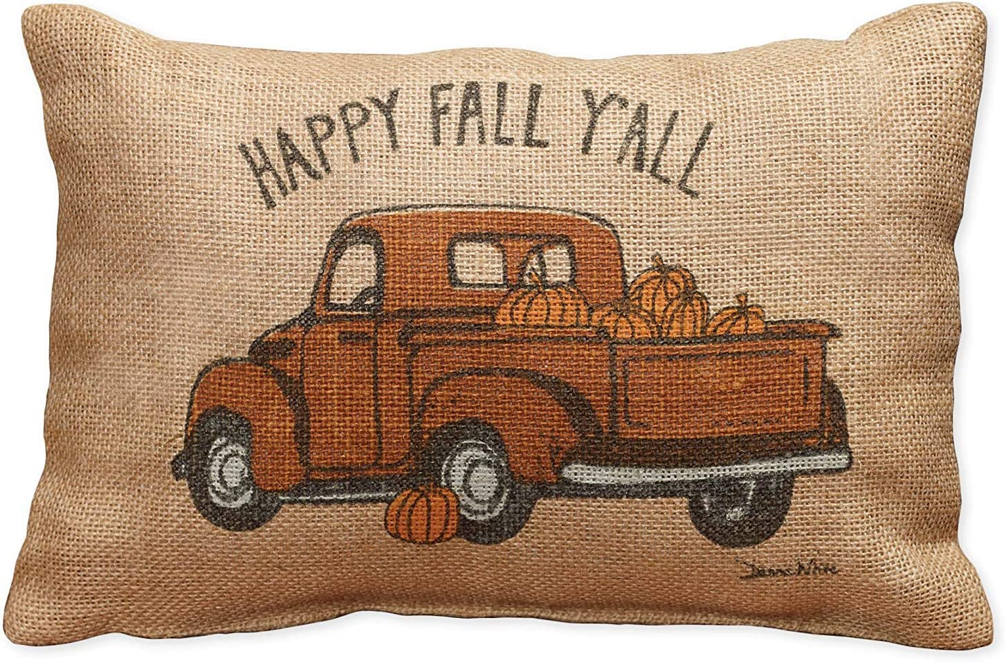 Happy Fall Y'All Truck Small Burlap Pillow 12