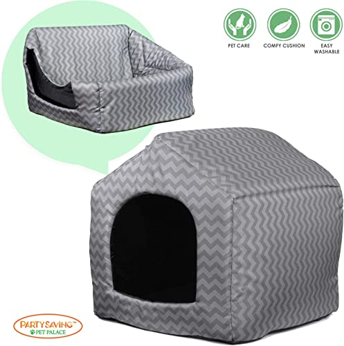 PARTYSAVING PET PALACE Portable Indoor Outdoor Pet Bed Fold-able House, Water Resistant, Grey, Brown, Blue Chevron Pattern