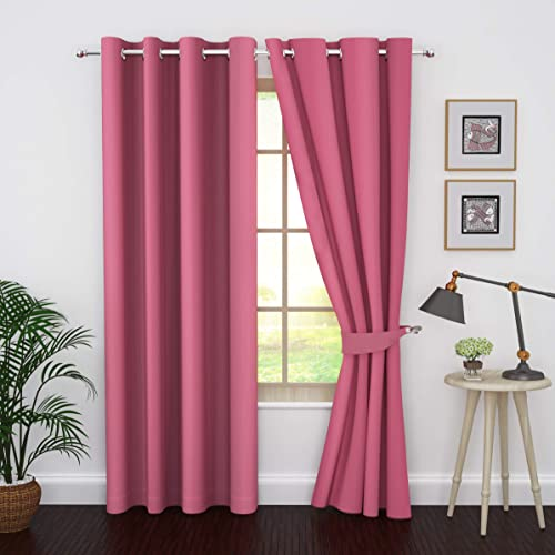 Ample Decor Thermal Insulated Blackout Grommet Window Curtain for Living Room, Modern Premium Quality Blackout Curtains with Tie Backs, Window Treatment Set of 2- Pink, 46 X 95 Inch
