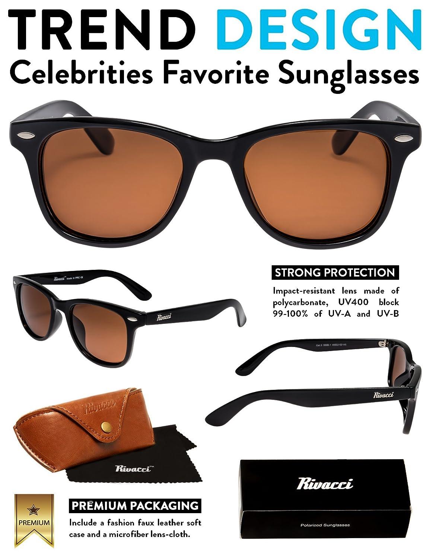 Rivacci Wayfarer Sonnenbrille Herren Schwarz Damen Männer Frauen Vintage  Polarisierte - Braun - Retro Polarized Sunglasses Men Woman 80er with Case:  ...