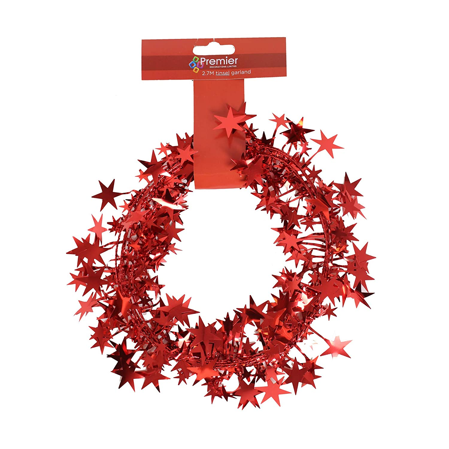 Premier Decorations Christmas 2.7 Metre Wired Shiny Foil Star Garland - Red