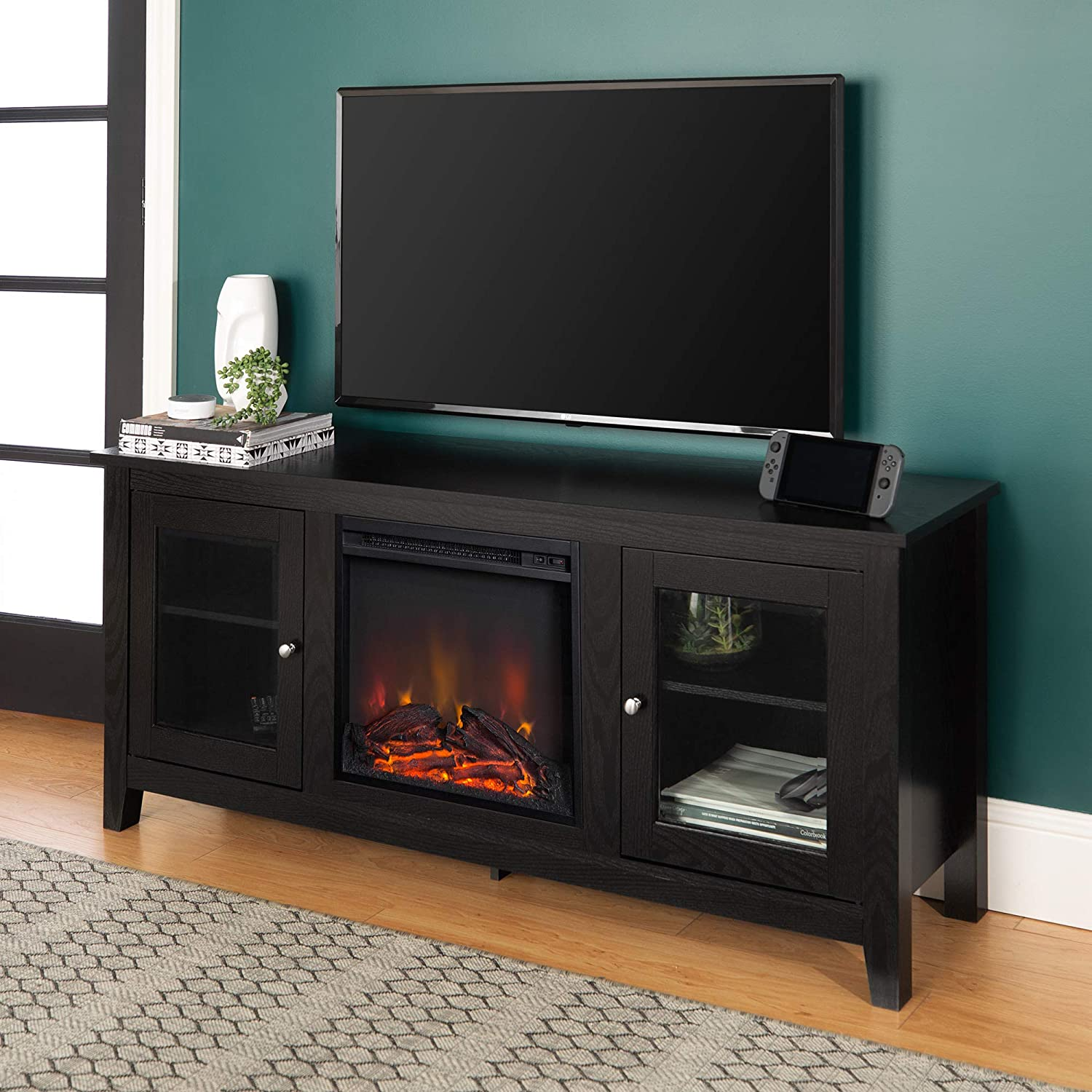 """Walker Edison WE Furniture Traditional Wood Fireplace Stand for TV's up to 64"""" Living Room Storage, 58"""", Black, 24 Inches Tall, Model:AZ58FP4DWBL"""