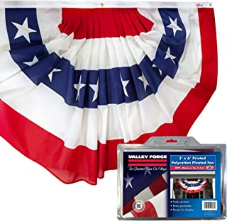 product image for Valley Forge American Fan Flag 3' x 6' Polycotton Sentinel 100% Made In U.S.A. Stars and Stripes Bunting Canvas Header Brass Grommets Model 36636010-5-S,Multi color