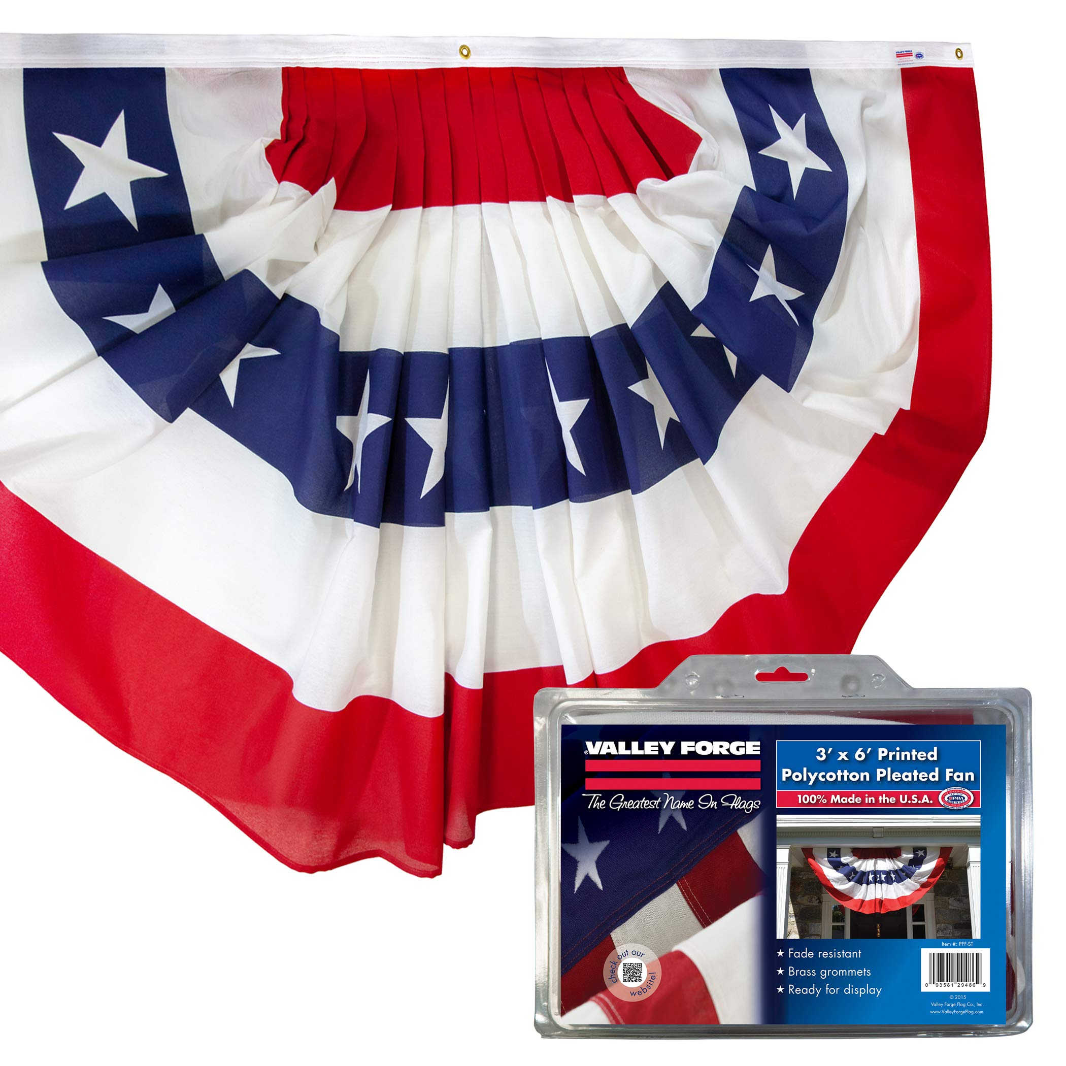 Valley Forge American Fan Flag 3' x 6' Polycotton Sentinel 100% Made In U.S.A. Stars and Stripes Bunting Canvas Header Brass Grommets Model 36636010-5-S by Sentinel