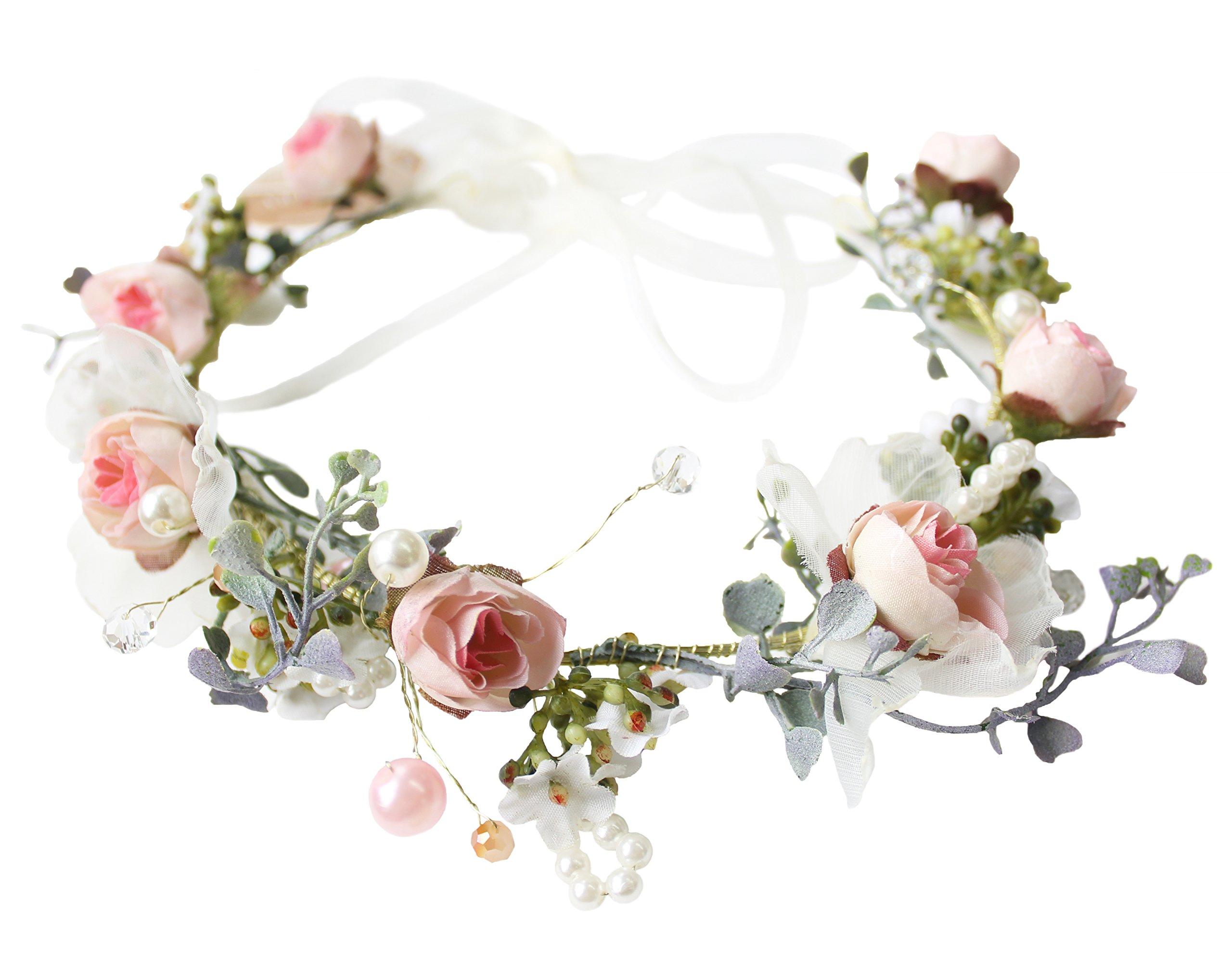 Vivivalue Pearl Flower Crown Floral Garland Headband Flower Halo Headpiece Hair Wreath Boho with Ribbon Party Wedding Festival Photos Pink