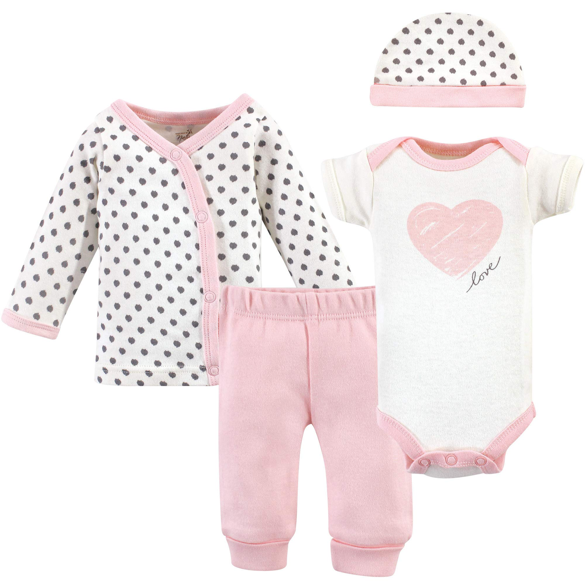 Touched by Nature Baby Organic Layette, Pink/Gray Scribble 4 Piece Set, Preemie by Touched by Nature