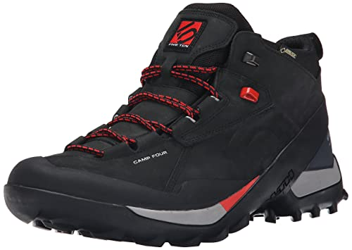 Five Ten Men's Camp Four Leather GTX Mid Hiking Boot, Black/Red, 9 M US