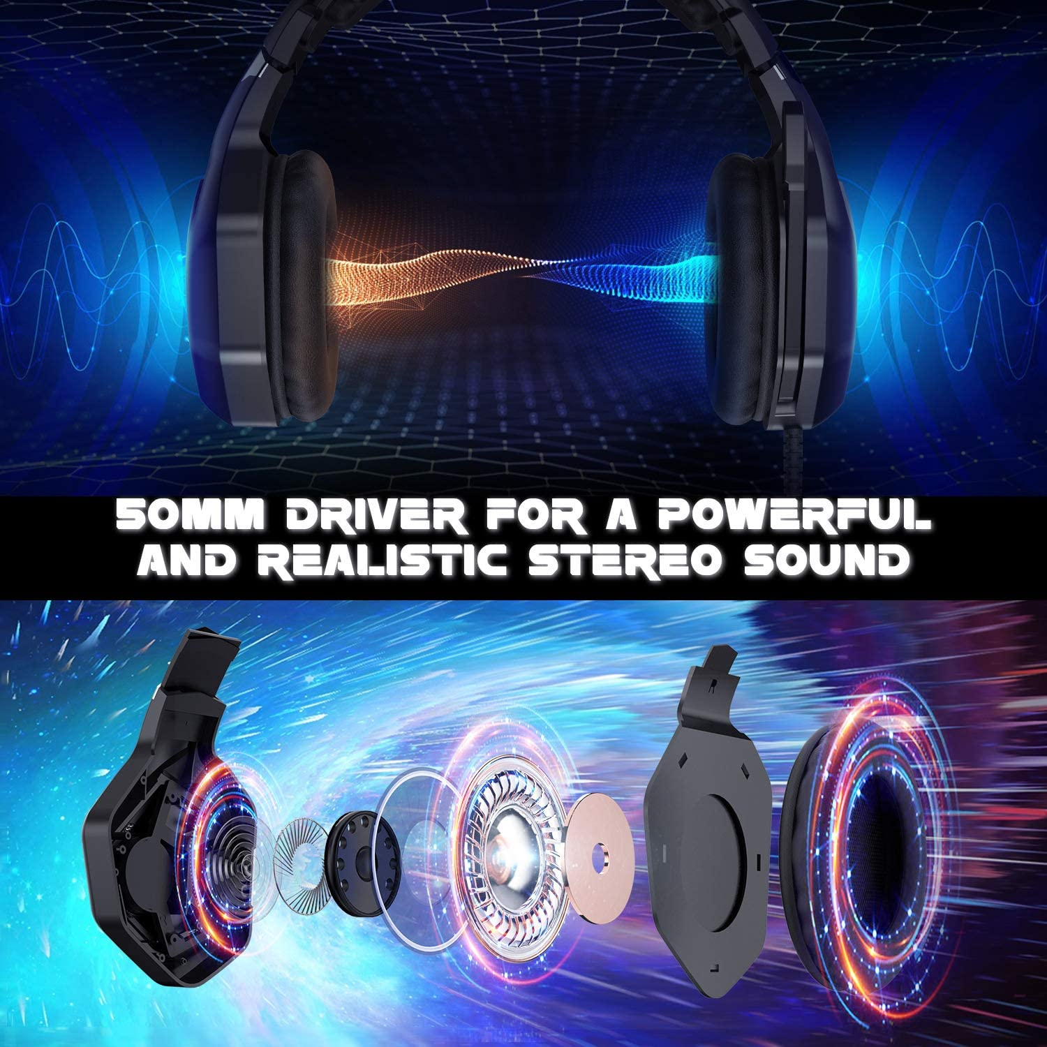 Alician Electronics K10RPO Gaming Headset with Adjustable Microphone for PS4 Xbox PC Noise Cancelling Game Headphone Surround Sound