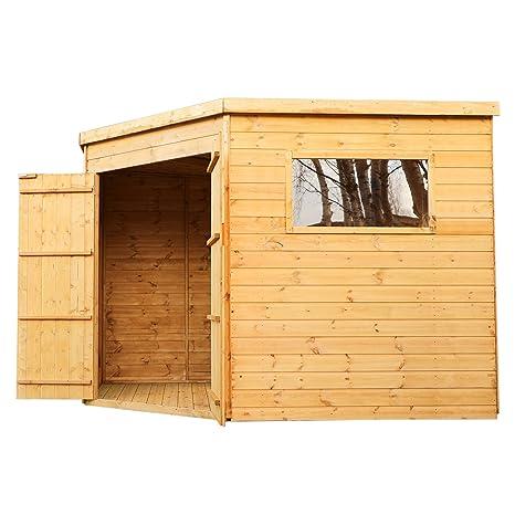 9 x 9 de madera Tongue & Groove esquina del jardín cobertizo, Windows, doble
