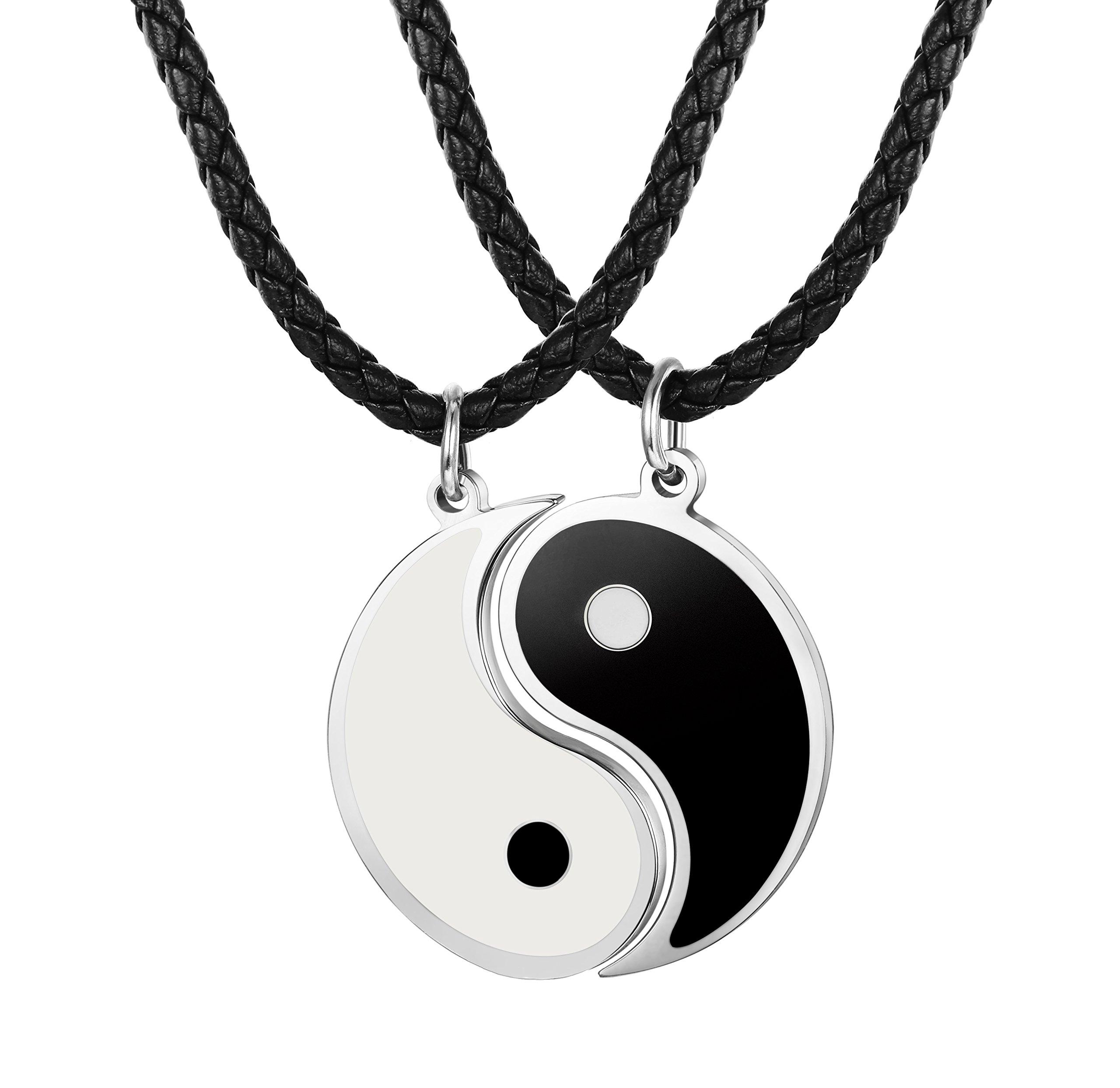 b7e7966e43f6 Besteel 3MM Collar Cuero Yin Yang para Hombre Mujer Colgante Taichi Acero  Inoxidable Collar Pareja Cadena