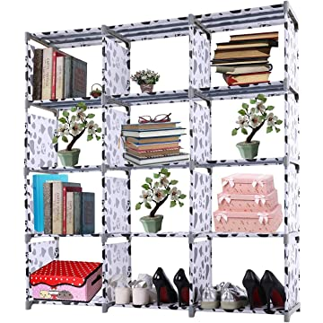4-tier Storage Cube Closet Organizer Book Shelf 12-cube Cabinet Bookcase (Black+White - 12 Cube)