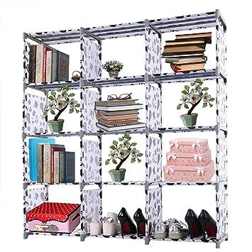 Utheing Book Shelf Organizer Rack Unit Storage 5 12 Cube Freestanding Fabric Horizontal Cubicle Bookshelf