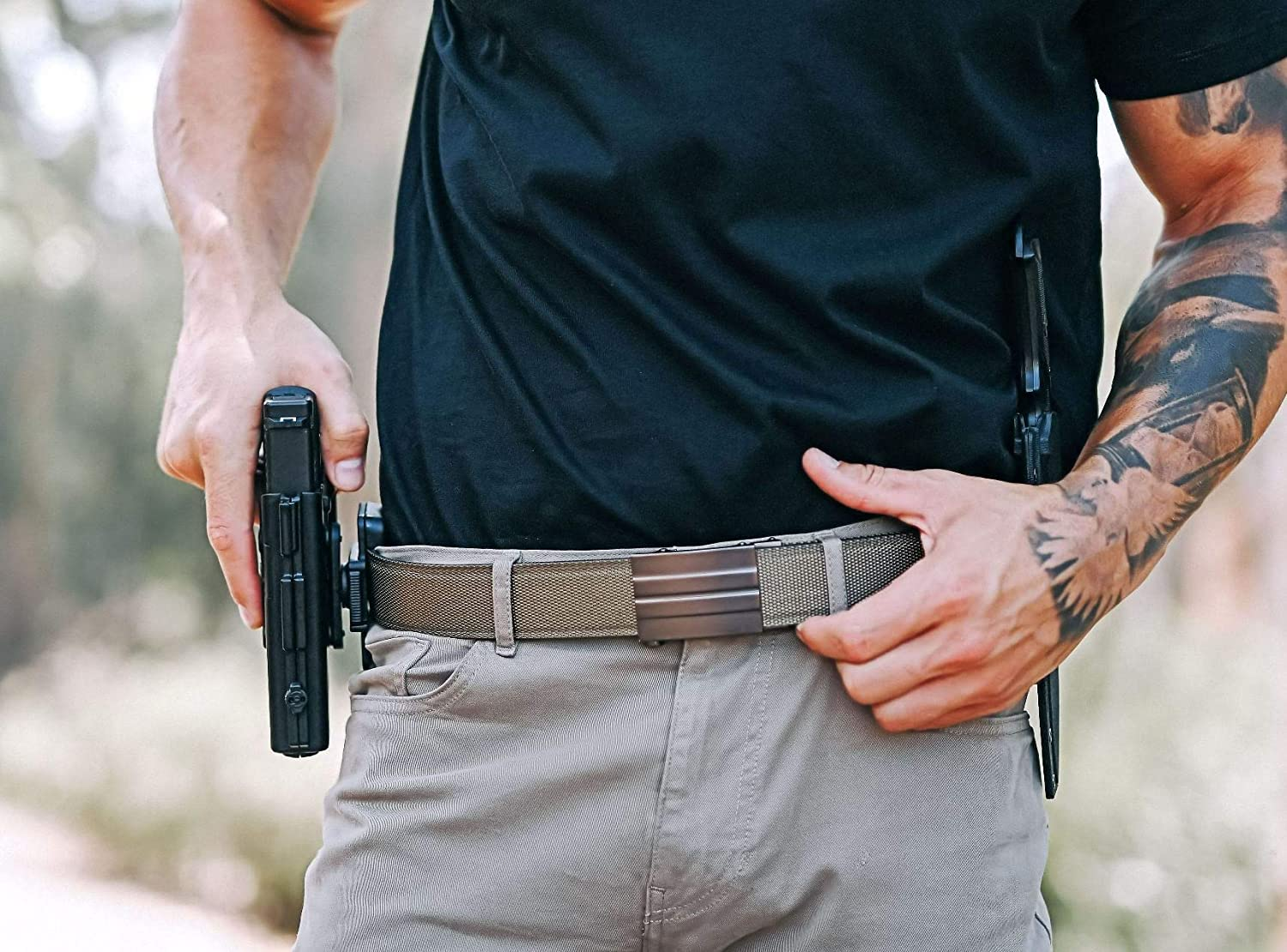 Amazon Com Kore Tactical Gun Belt X2 Buckle Tan Reinforced Belt Clothing Precise, secure fit provides a smooth, fast draw every time. kore tactical gun belt x2 buckle