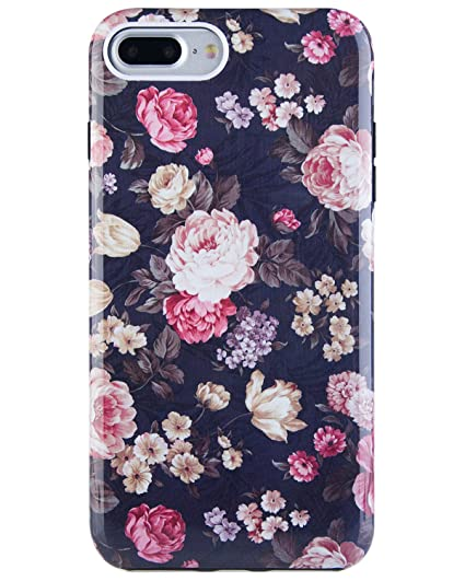 cheap for discount 03c43 4f3ca Dimaka iPhone 7 Plus Case, iPhone 8 Plus Case for Girls, Cute Floral Flower  Cover 2 Layer Parts Hybrid Cover for iPhone 7 Plus and iPhone 8 Plus ...