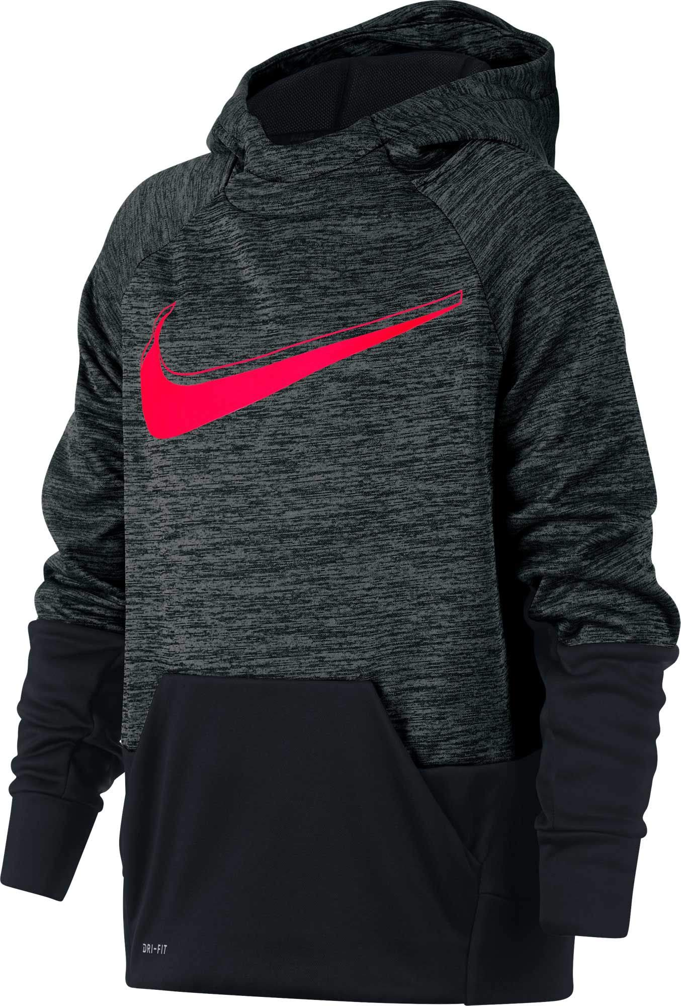 NIKE Boy's Therma Heathered Graphic Hoodie (Black/Crimson, X-Small)
