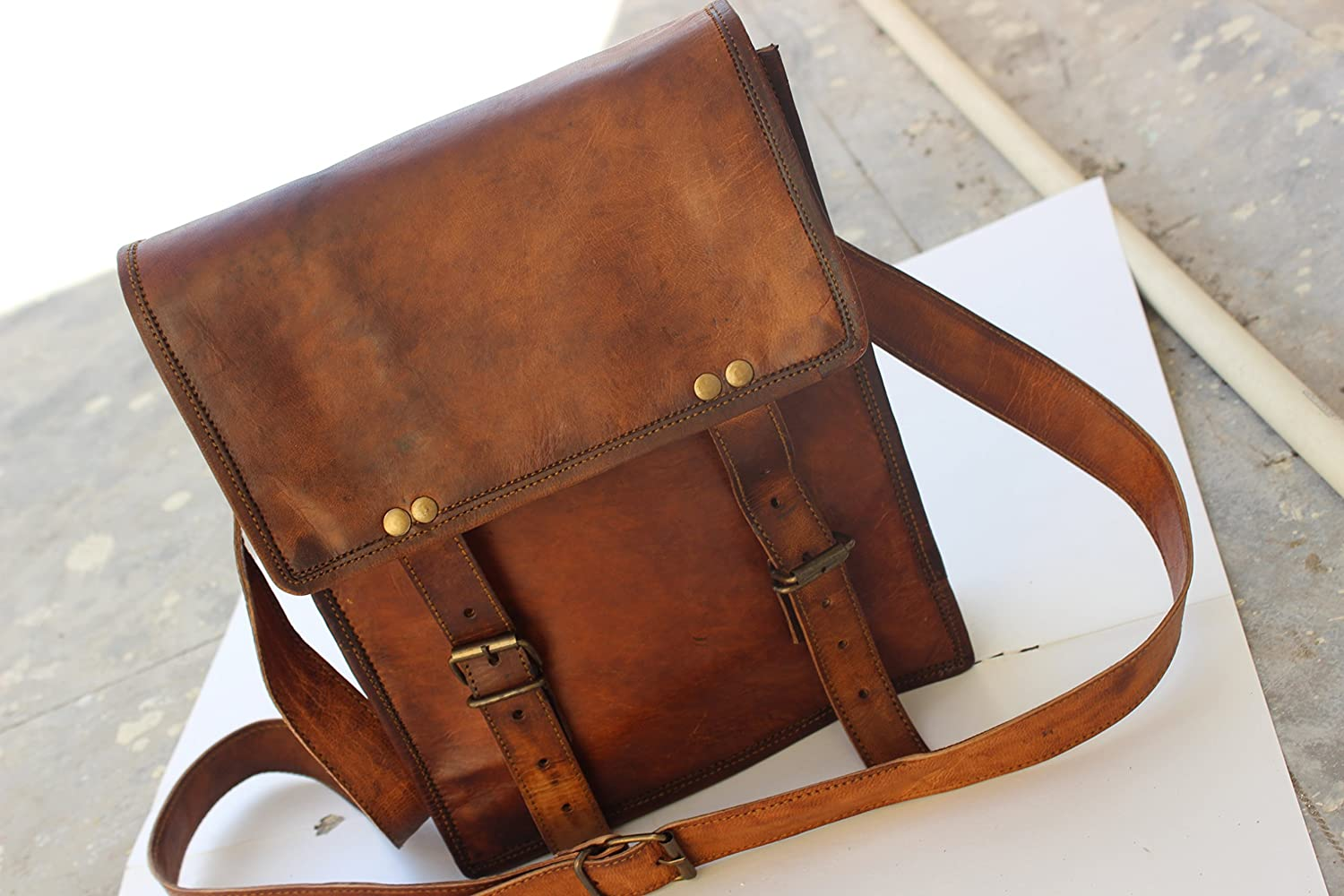 Saora Leather Messenger Satchel Mans Bag Small