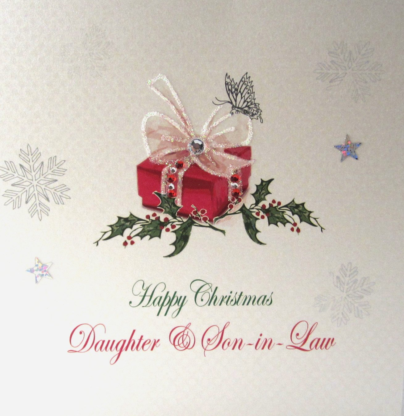 white cotton cards x115 happy christmas daughter and son in law handmade christmas card - Merry Christmas Daughter