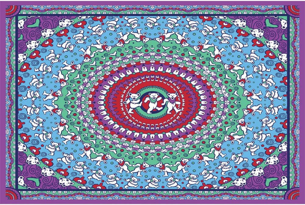 Sunshine Joy Grateful Dead Dancing Bear Tapestry Tablecloth Wall Art Beach Sheet Huge 60x90 Inches - Purple & Red