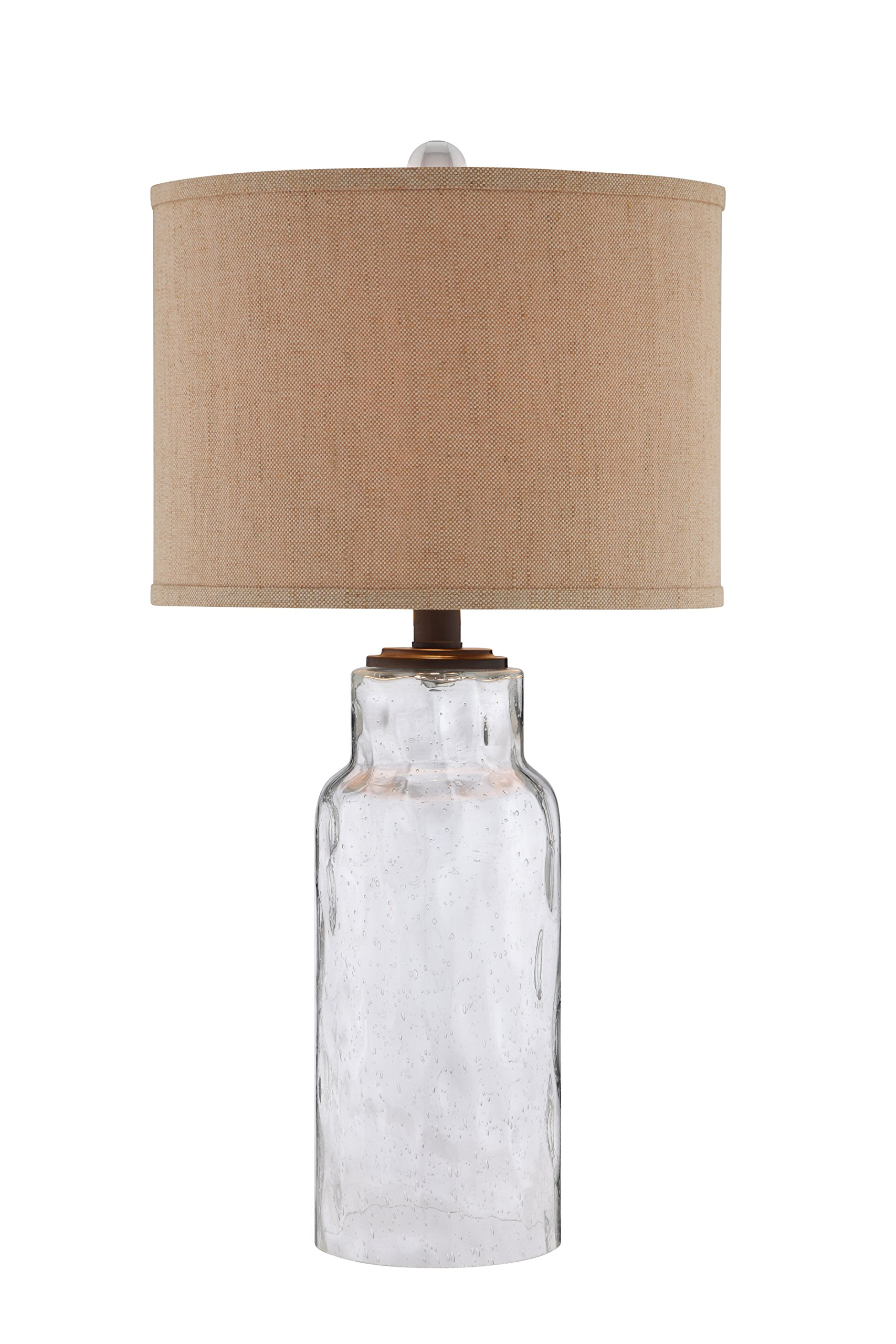 Illuminada 19144-001 Transitional 3-Way Dimpled Glass Table Lamp with Textured Linen Drum Hardback Shade and Bulb, 29-Inch, Clear