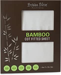 Bubba Blue Baby Toddler Super Soft Bamboo Viscose Cot Fitted Sheet Thermoregulating White Unisex