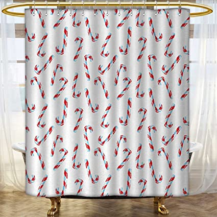 Candy Cane Shower Curtains Fabric Extra Long Aquarelle Style Sweets Traditional Christmas Festivities Winter Celebrations Bathroom