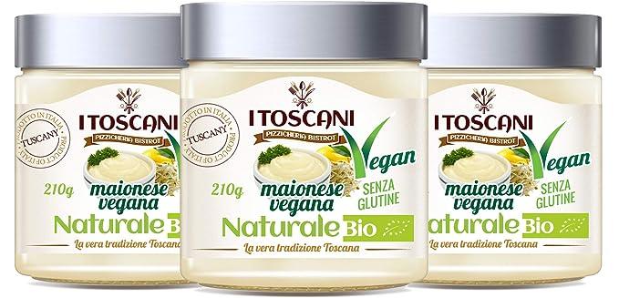Mayonesa bio orgánica vegana 3 paquetes de 210 g - i Toscani. Sin GLUTEN, sin CONSERVAS añadidos, Italia.