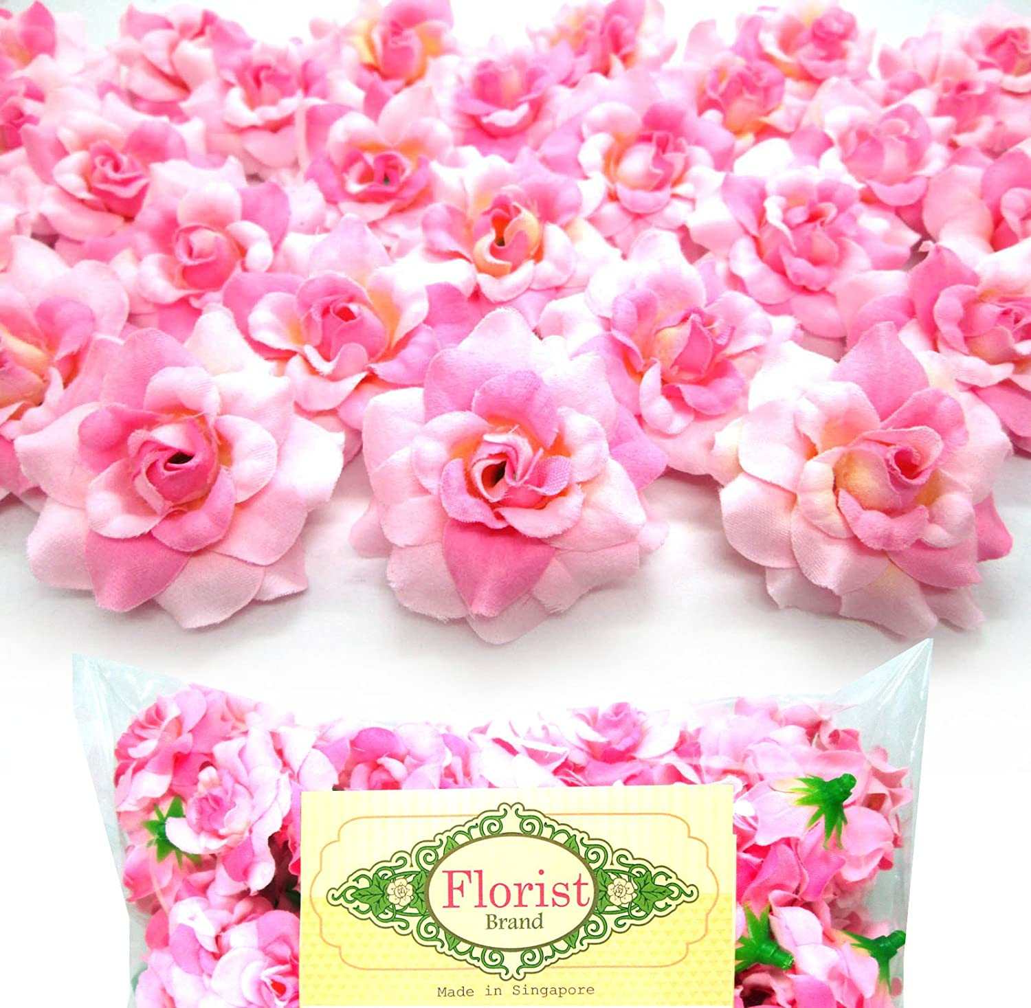 Amazon.com: (100) Silk Two Tone Light Pink Roses Flower Head   1.75