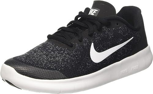 Détails sur Nike Free Run Garçons 2017 (Gs) Baskets Course Chaussures Noires Blanc Gris