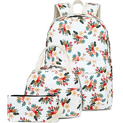 ad813dd65506 BLUBOON School Backpack Set Teen Girls Bookbags 15 inches Laptop Backpack  Kids Lunch Tote Bag Clutch Purse (E0023 Off White)