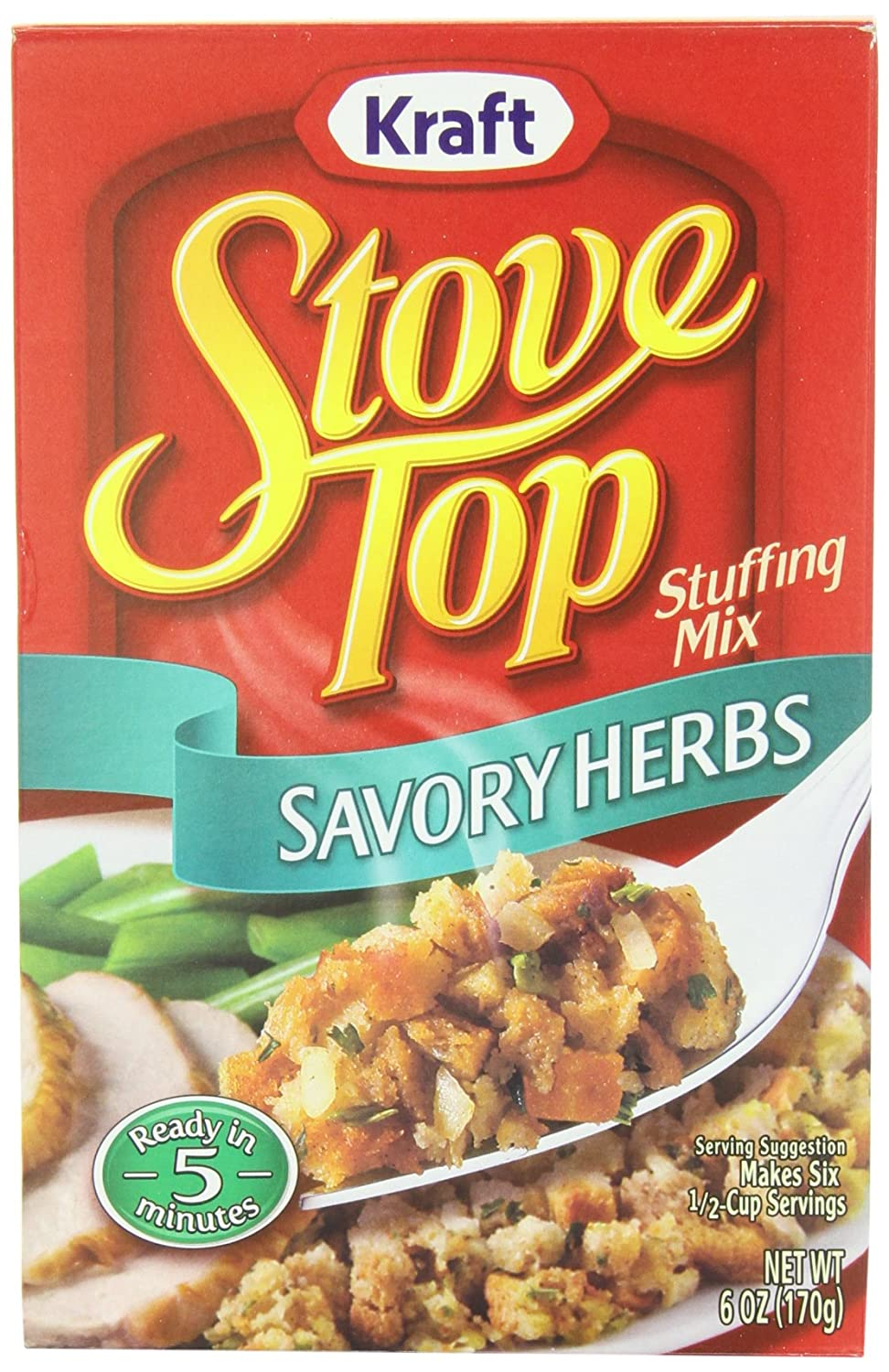 amazon com stove top stuffing mix savory herb 6 ounce box pack
