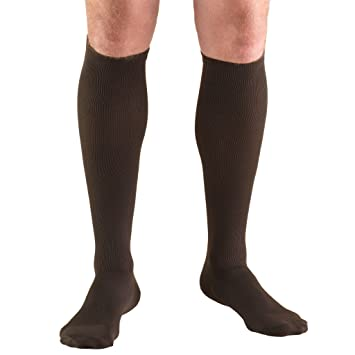 Truform Mens Knee High 20-30 mmHg Compression Dress Socks, Brown, Medium