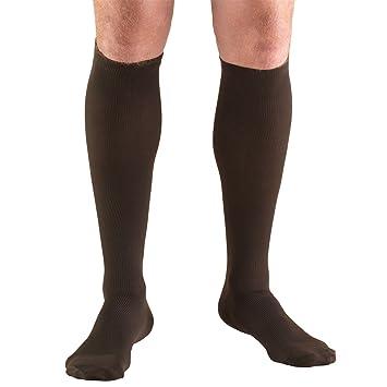 Truform Mens Knee High 20-30 mmHg Compression Dress Socks, Brown, Medium