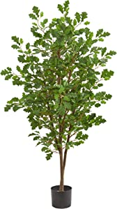 Nearly Natural 5' Oak Artificial Silk Trees Green