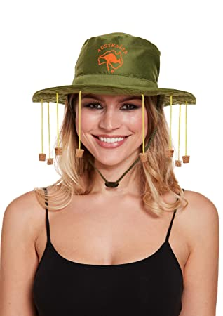 5b740e5b282d16 HENBRANDT Hat Australian With Corks for Fancy Dress Party Accessory: Amazon. co.uk: Toys & Games