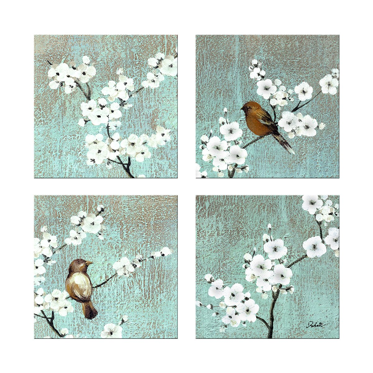 Dzhan Bird Wall Art, 13X13inches 4pc Botanical Prints Wall ...