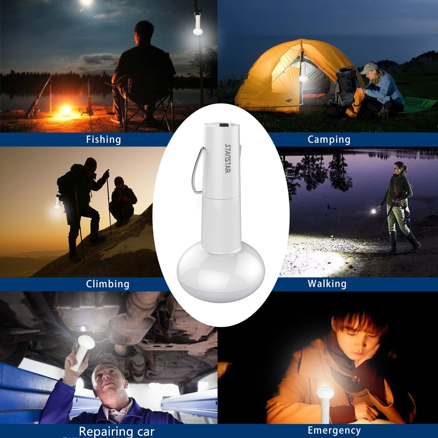 Stanstar Camping Lantern Rechargeable Lantern Portable Led Flashlight Solar Powered Tent Lamp for Outdoor Camping Hiking Fishing Emergency