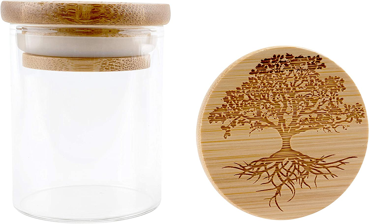 Hakuna Supply - Glass Storage Jar with Decorative Airtight Bamboo Lid - Multi-Use Stash Container for Herbs, Tea, Candy, Q-Tips, etc. for The Bedroom, Kitchen, and Bathroom (1/8 Oz., Tree of Life)