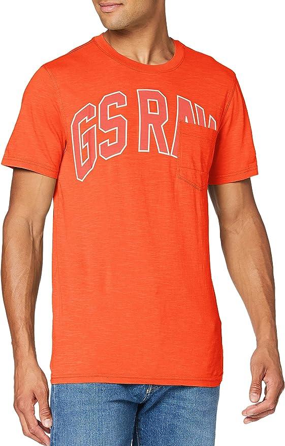 TALLA M. G-STAR RAW Collegic Graphic Pocket Straight Camiseta para Hombre