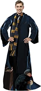 """Warner Brothers Fantastic Beasts, """"Newt"""" Adult Comfy Throw Blanket with Sleeves, 48"""" x 71"""", Multi Color"""