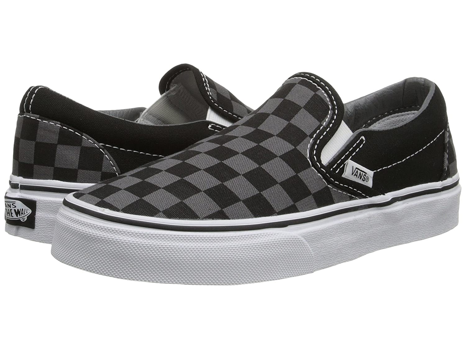 Vans Men's Classic Slip On (Suede & Suiting) Skateboarding Shoes B01M6TMJ8G 7 B(M) US Women / 5.5 D(M) US Men|Black/Pewter Checkerboard